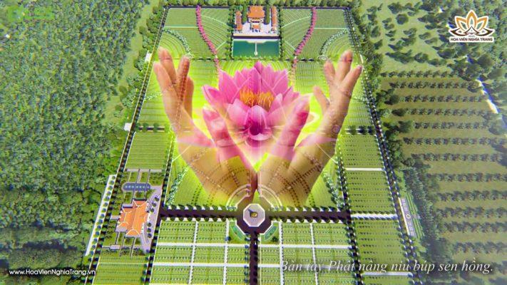 Hoa Viên Bìn An-Bàn Tay Phật Nâng Niu Búp Sen Hồng