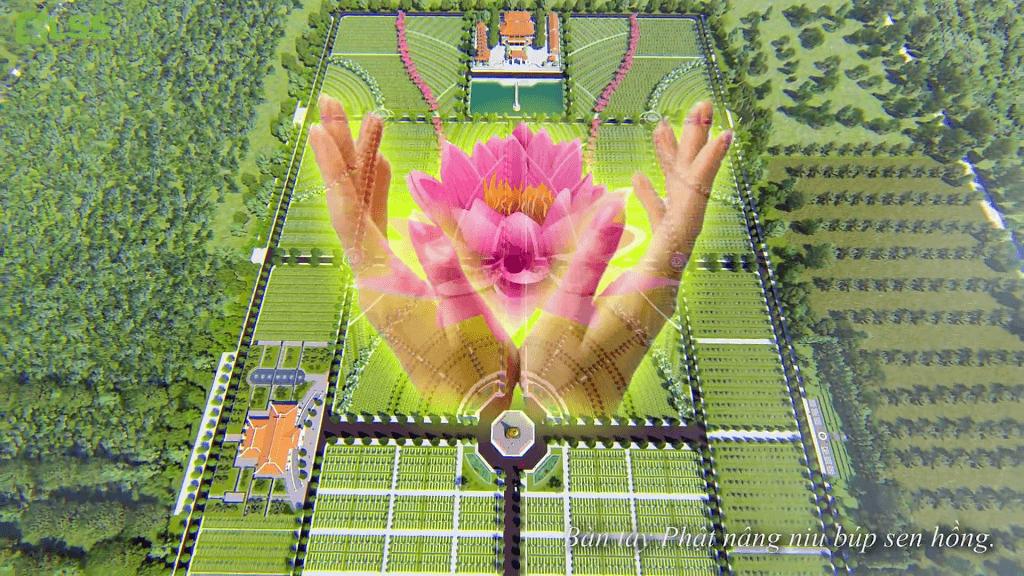 Hoa Viên Bình An-Bàn Tay Phật Nâng Niu Búp Sen Hồng